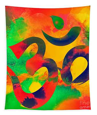 Om Symbol, Green, Yellow And Orange Multicolor Tapestry