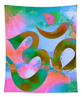 Om Symbol, Pastel Pink,blue And Green Tapestry