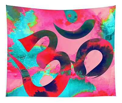 Om Symbol, Pink And Blue Tapestry