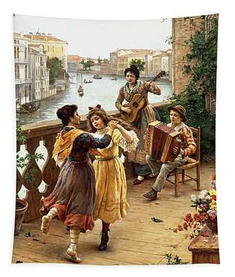 On A Venetian Balcony Tapestry