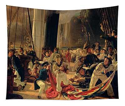 On The Deck During A Sea Battle Tapestry
