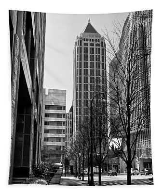 One Atlantic Center In Black And White Tapestry