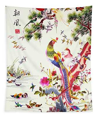 One Hundred Birds With A Phoenix, Canton, Republic Period Tapestry