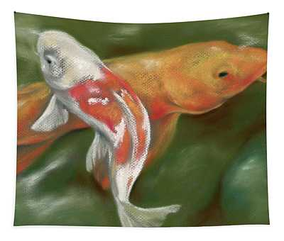 Orange And White Koi With Mossy Stones Tapestry