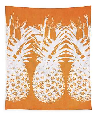 Orange And White Pineapples- Art By Linda Woods Tapestry