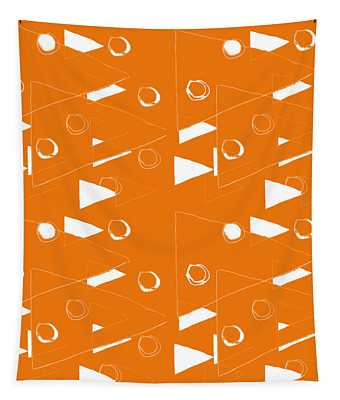 Orange And White Triangles Tapestry
