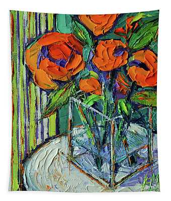 Orange Bloom - Textured Impressionist Palette Knife Oil Painting Mona Edulesco Tapestry