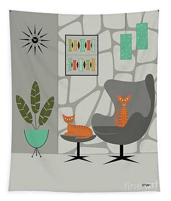 Orange Cat In Gray Stone Wall Tapestry