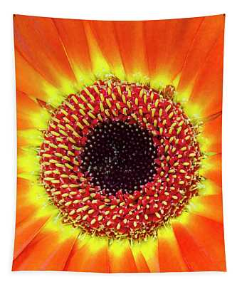 Orange Flower Macro Tapestry