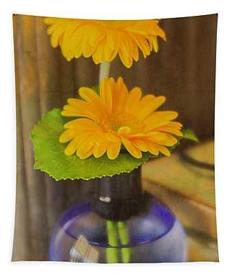 Orange Flowers Blue Vase Tapestry