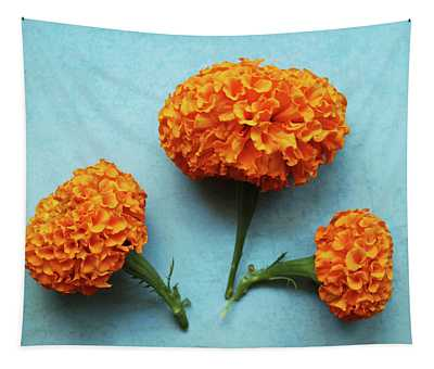 Orange Marigolds- By Linda Woods Tapestry