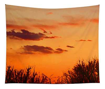 Tapestry featuring the digital art Orange Sky At Night by Shelli Fitzpatrick
