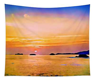 Orange Sky In Ixtapa, Mexico Tapestry