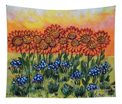 Orange Sunset Flowers Tapestry