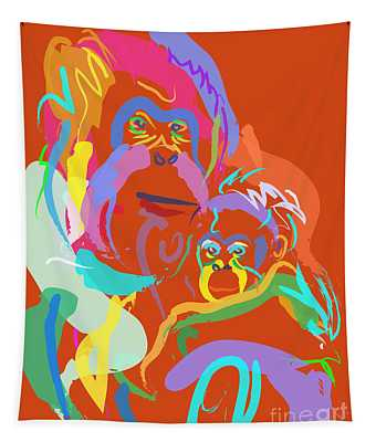Orangutan Mom And Baby Tapestry