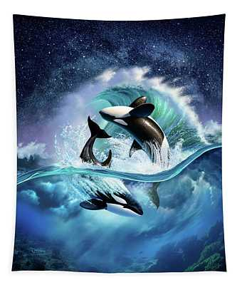 Orca Wave Tapestry