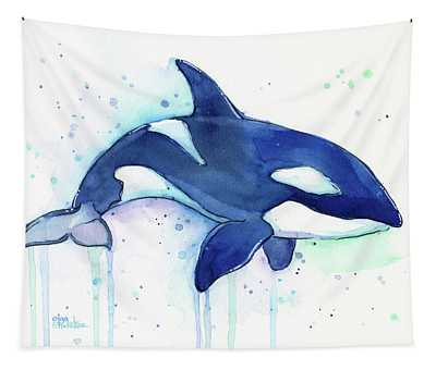 Orca Whale Watercolor Killer Whale Facing Right Tapestry