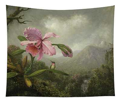 Orchid And Hummingbird Near A Waterfall Tapestry