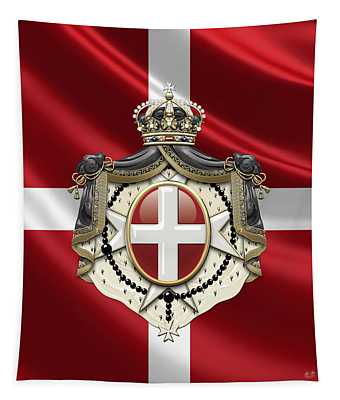 Order Of Malta Coat Of Arms Over Flag Tapestry