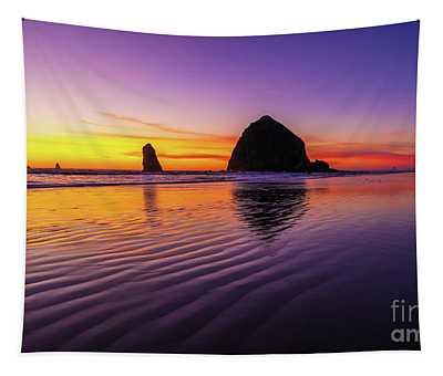 Oregon Coast Cannon Beach Sand Ripples Sunset Tapestry