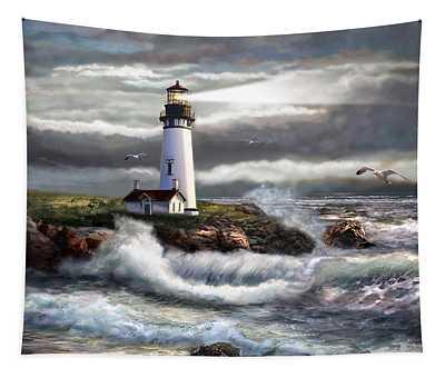 Oregon Lighthouse Beam Of Hope Tapestry