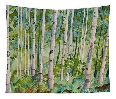 Original Watercolor - Summer Aspen Forest Tapestry