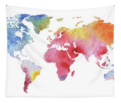 Our Watercolor Full World Tapestry