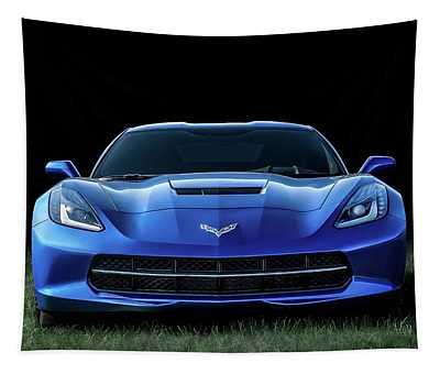 Blue 2013 Corvette Tapestry