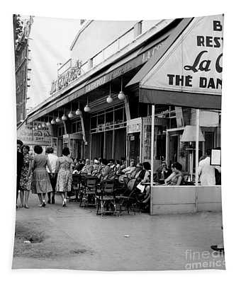 Outside Restaurant La Coupole In Montparnasse, Paris, 1959  Tapestry