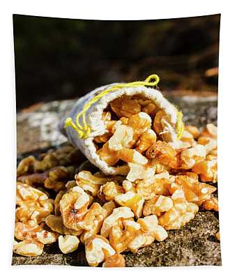 Overflowing Sack Of Fresh Walnuts Tapestry