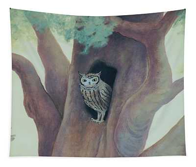 Owl In Tree Tapestry
