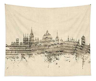 Oxford England Skyline Sheet Music Tapestry