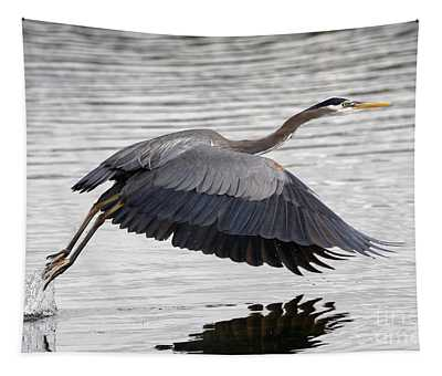 Pacific Great Blue Heron On Lift Off Tapestry
