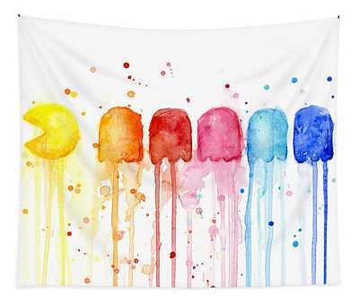 Pacman Watercolor Rainbow Tapestry