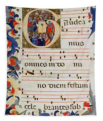 Page Of Musical Notation With A Historiated Letter G Tapestry