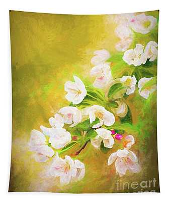 Painted Crabapple Blossoms In The Golden Evening Light Tapestry