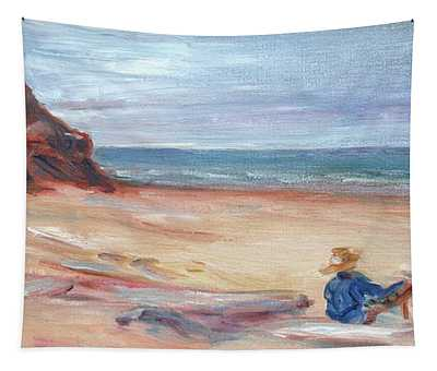 Painting The Coast - Scenic Landscape With Figure Tapestry