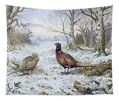 Pair Of Pheasants With A Wren Tapestry