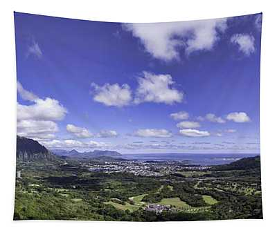 Pali Lookout Panorama Tapestry