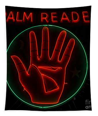 Palm Reader Neon Sign Tapestry