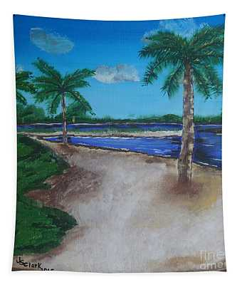 Palm Trees On The Beach Tapestry