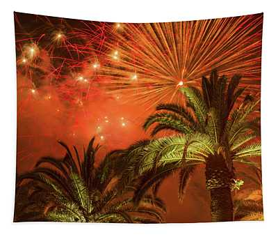 Palm Trees With Fireworks Tapestry