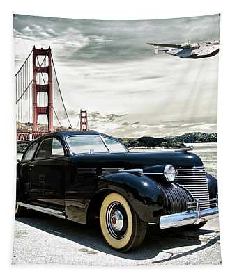 1946 Cadillac, Pan Am Boeing 314 Clipper Leaving San Francisco To Honolulu Tapestry