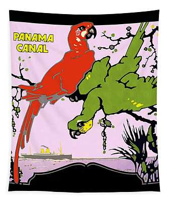 Panama Canal - Parrots On A Branch - Macaws - Retro Travel Poster - Vintage Poster Tapestry