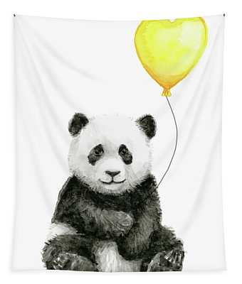 Panda Baby With Yellow Balloon Tapestry