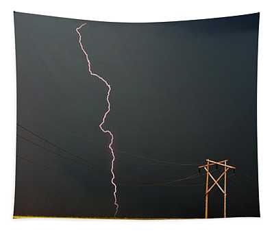 Panoramic Lightning Storm And Power Poles Tapestry