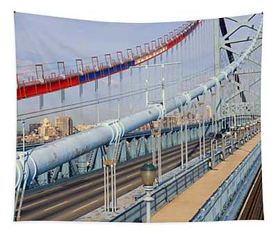 Panoramic View Of Ben Franklin Bridge Tapestry