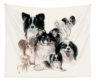 Papillon And Phalene Collage Tapestry