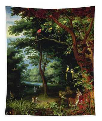 Paradise Scene With Adam And Eve Tapestry