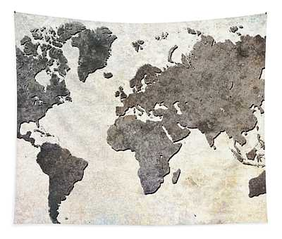 Parchment World Map Tapestry